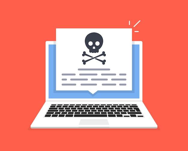 Il laptop è stato violato. messaggio di teschio sullo schermo del computer. concetto di virus, pirateria, pirateria informatica e sicurezza