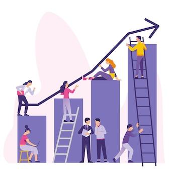 Il lavoro di gruppo lavora per aumentare i tavoli dei grafici aziendali