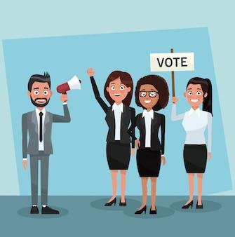 Il lavoro di squadra dei politici nei cartoni animati della campagna di voto
