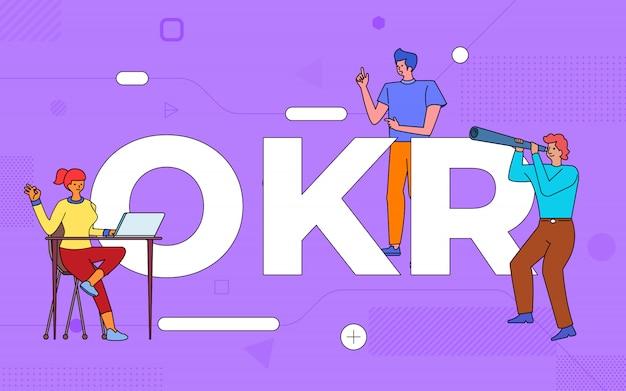 Il lavoro di squadra di affari delle illustrazioni crea il risultato chiave dell'obiettivo di affari che lavora insieme. buildind testo concetto okr. illustrare.