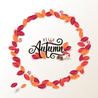 Il layout di sfondo autunno calligrafia decorare con foglie