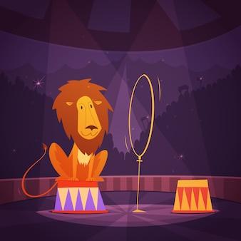 Il leone del circo che salta attraverso un anello sul fumetto del palcoscenico