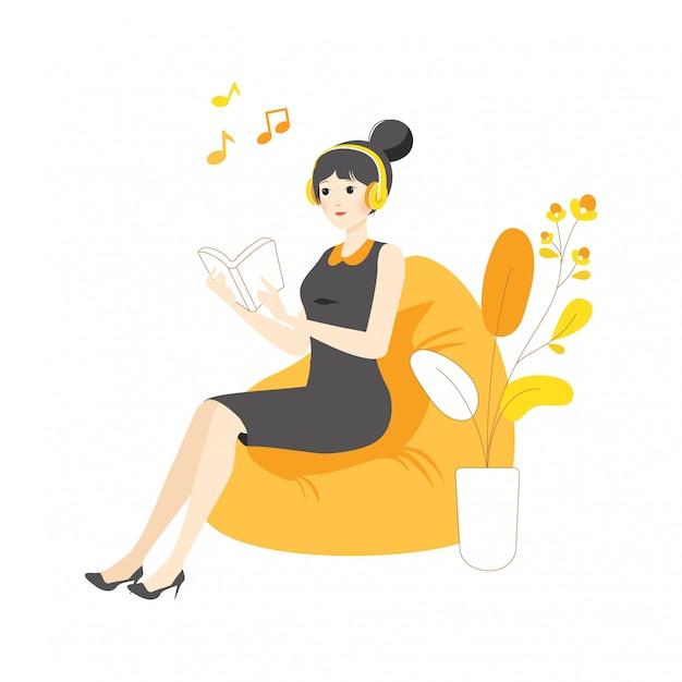 Il libro di lettura d'ascolto di canzone di musica della ragazza della donna del carattere lineare si rilassa l'isolamento dell'illustrazione di concetto