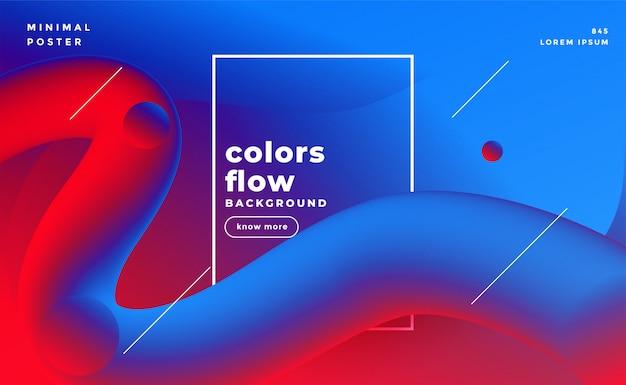 Il liquido vibrante 3d scorre il fondo fluido di colori