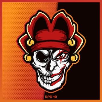 Il logo del clown skull esport e la mascotte dello sport progettano con il concetto moderno dell'illustrazione per stampa della squadra, del distintivo, dell'emblema e di sete. illustrazione del pagliaccio del cranio su fondo rosso scuro. illustrazione