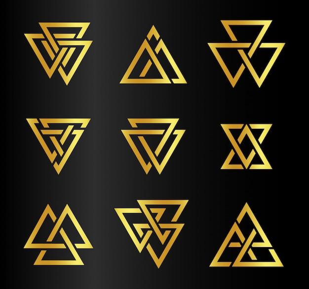 Il logo dorato astratto isolato di contorno dei triangoli di colore ha messo sul nero
