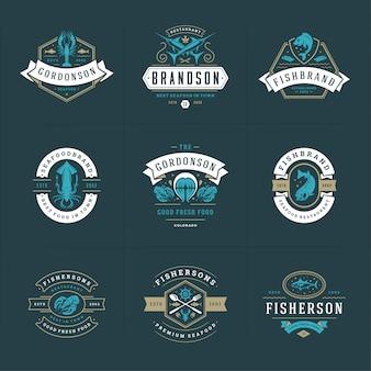 Il logos o i segni dei frutti di mare ha messo i modelli degli emblemi del mercato ittico e del ristorante dell'illustrazione di vettore