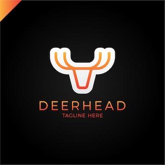 Il logotipo di linea è minimalista nella forma di una testa di cervo