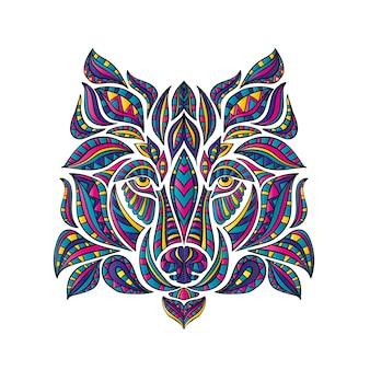 Il lupo è disegnato con motivi, stile boho. illustrazione.