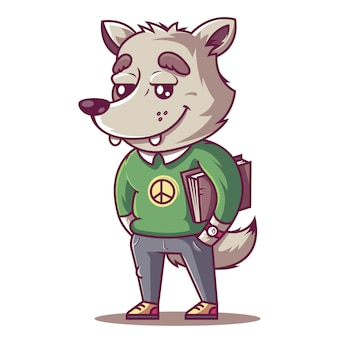 Il lupo sorride. giovane studente con un libro.