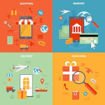 Il m-commerce e gli elementi di acquisto hanno messo con cercare l'illustrazione di vettore isolata piano di simboli di consegna e di attività bancarie