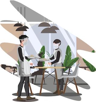 Il maggiordomo ed i camerieri stanno pulendo la tavola all'illustrazione del ristorante