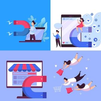 Il magnete attira il concetto di banner web del cliente