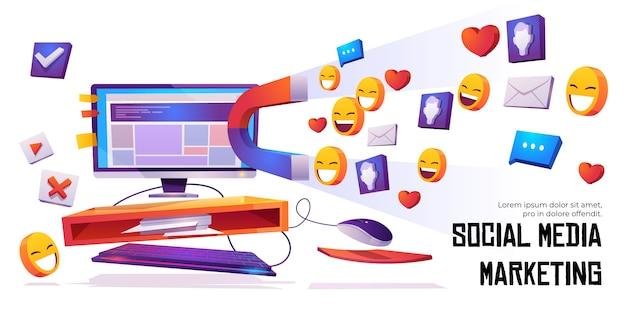 Il magnete del banner di social media marketing attira i mi piace