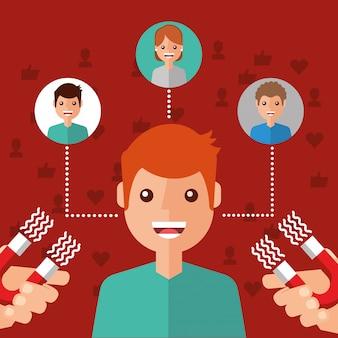 Il magnete del contenuto virale del personaggio umano attira i seguaci