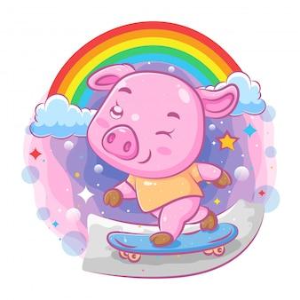 Il maiale carino gioca lo skateboard sulla strada dell'illustrazione