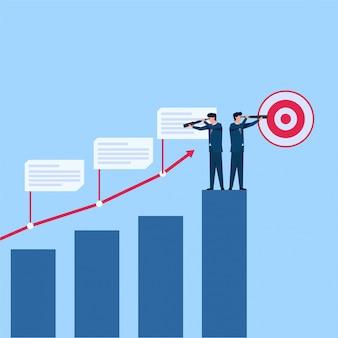 Il manager vede lo sviluppo degli aumenti dello stock attraverso la metafora del telescopio di analisi. illustrazione piana di concetto di affari.