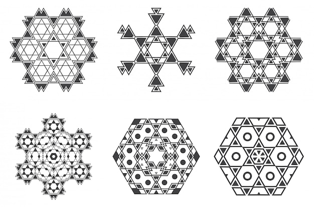 Il mandala etnico di frattalo ebreo israeliano assomiglia a fiocco di neve o maya aztec pattern o fiore