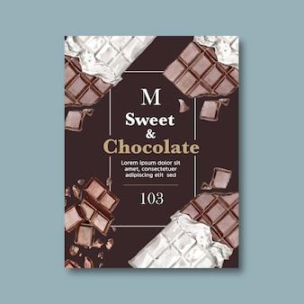 Il manifesto del cioccolato con gli ingredienti che fanno la barra di cioccolato si è rotto, illustrazione dell'acquerello