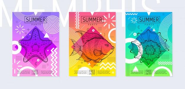 Il manifesto del partito di estate dell'arcobaleno ha messo nello stile geometrico. invito alla festa di memphis alla moda con pesce di mare schizzo, stelle marine e conchiglie.