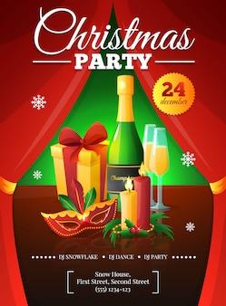 Il manifesto dell'invito della festa di natale con le tende rosse presenta le candele della maschera del champagne