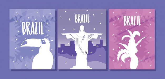 Il manifesto di carnevale del brasile ha messo con progettazione dell'illustrazione di vettore delle icone dell'insieme