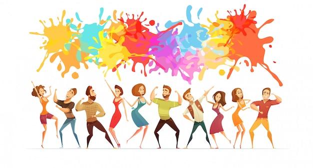 Il manifesto festivo con pittura luminosa spruzza e le figure della gente del fumetto nel ballo contemporaneo posa l'illustrazione astratta di vettore