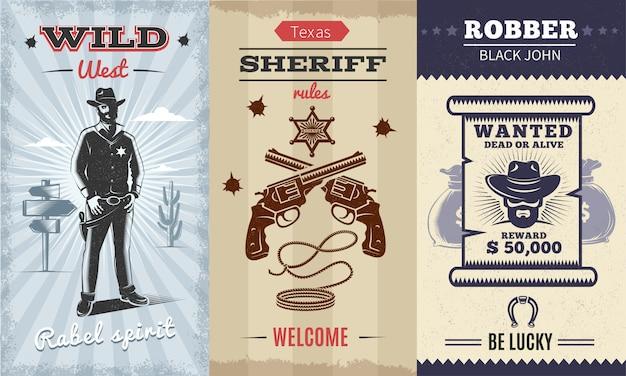 Il manifesto verticale d'annata selvaggio selvaggio con il cowboy sul paesaggio del deserto ha attraversato lo sceriffo dei revolver
