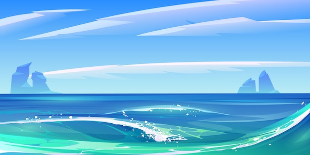 Il mare dell'oceano ondeggia con schiuma bianca, paesaggio della natura