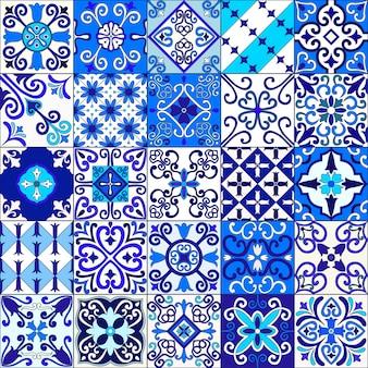 Il marocco blu e bianco piastrella il modello senza cuciture.
