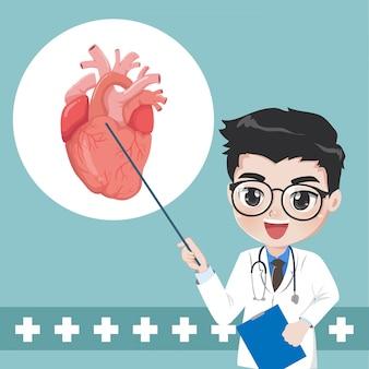 Il medico consiglia e insegna la conoscenza delle malattie cardiache
