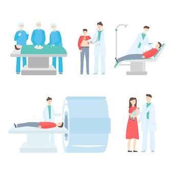 Il medico della medicina opera, diagnostica, tratta il paziente a disposizione disegnato isolato su bianco.