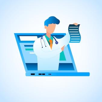 Il medico di vettore scrive il trattamento online di prescrizione. illustrazione medico maschio in abito medico bianco, monitor portatile schermo montato, tiene nella sua mano carta con prescrizione per il trattamento di pazienti affetti da malattie