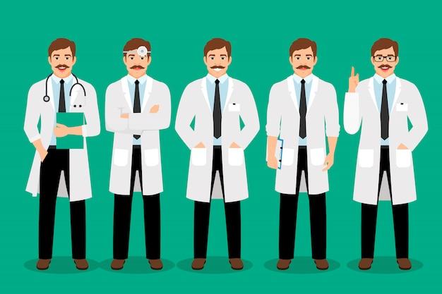 Il medico maschio diritto posa l'illustrazione di vettore. ritratto del professionista dell'uomo di sanità in cappotto bianco