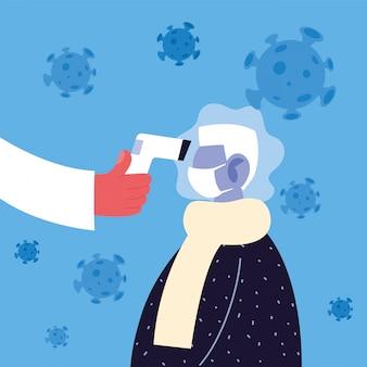Il medico misura la temperatura di un uomo in una maschera medica, prevenzione del coronavirus