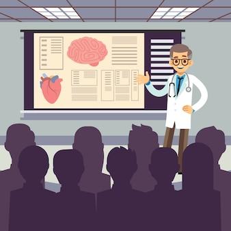 Il medico sorridente fa una presentazione al pubblico