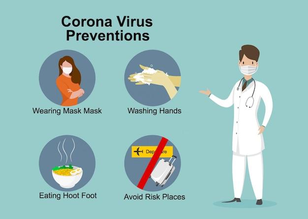 Il medico spiega l'infografica, indossa la maschera, lava le mani, mangia cibi caldi ed evita i posti a rischio. illustrazione