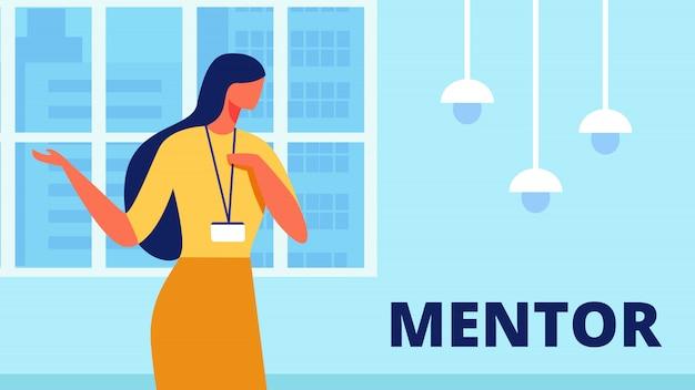 Il mentore della donna conduce la formazione in ufficio. vettore.