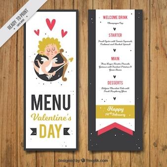 Il menu di san valentino con cupido divertente