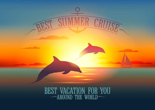 Il miglior banner da crociera estiva con i delfini su un paesaggio marino al tramonto