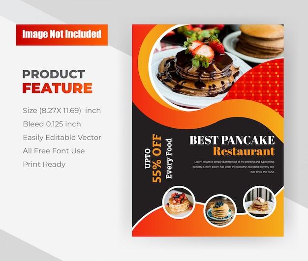 Il miglior negozio di pancake restaurant. modello di volantino del ristorante.