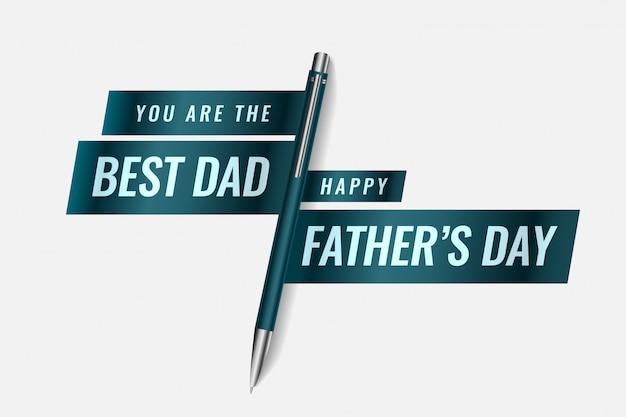 Il miglior papà felice festa del papà banner design con penna