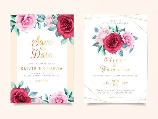 Il modello bello della carta dell'invito di nozze ha messo con la decorazione dei fiori dell'acquerello e la linea decorazione dell'oro