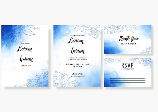 Il modello blu della carta dell'invito di nozze dell'acquerello ha messo con la decorazione floreale