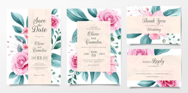 Il modello botanico della carta dell'invito di nozze ha messo con la decorazione dei fiori dell'acquerello