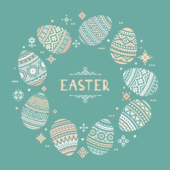 Il modello circolare con posto per il testo delle icone piatte colorate uovo di pasqua dipinte in stile tradizionale.