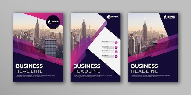 Il modello corporativo di progettazione della copertina di libro ha messo in a4 con la disposizione astratta. design moderno