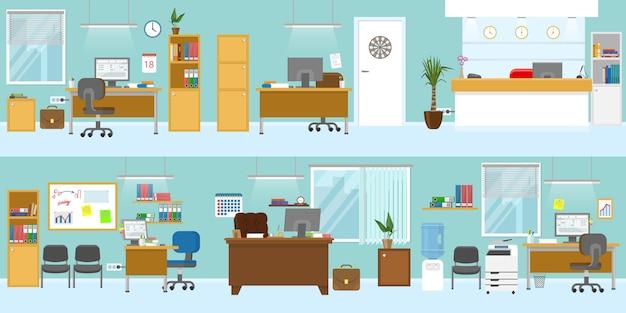 Il modello degli interni dell'ufficio con il posto di lavoro di ricezione della mobilia di legno per le pareti blu-chiaro del soffitto del capo ha isolato l'illustrazione di vettore