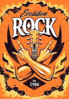 Il modello del manifesto del rock con le mani incrociate firma il gesto del rock n roll, il collo della chitarra e le fiamme sullo sfondo del cielo drammatico.