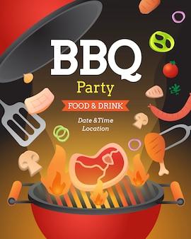Il modello del manifesto dell'invito del partito del bbq con l'aletta di filatoio dell'alimento e della griglia vector l'illustrazione piana di stile.